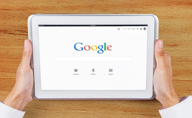 an iPad using Google for SEO