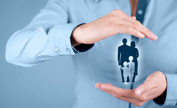 a diagram of an insurance company holding a family in their hands which was made using a good digital marketing strategy to help bring in new clients
