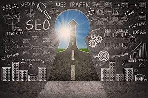 a picture showing the different facets of SEO on a chalkboard with a road in the shape of a key to symbolize its success
