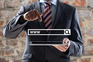 lawyer holding a search query box representing law firm seo