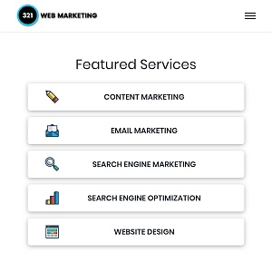 321 Web Marketing - Tysons Corner, VA web design menu
