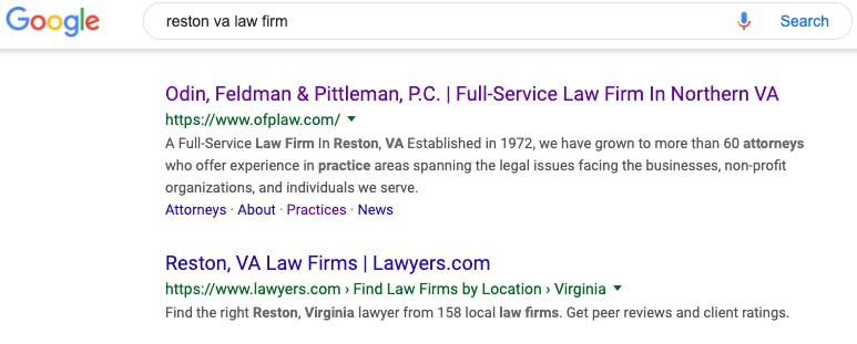 serps for reston va law firm after performing reston, va seo