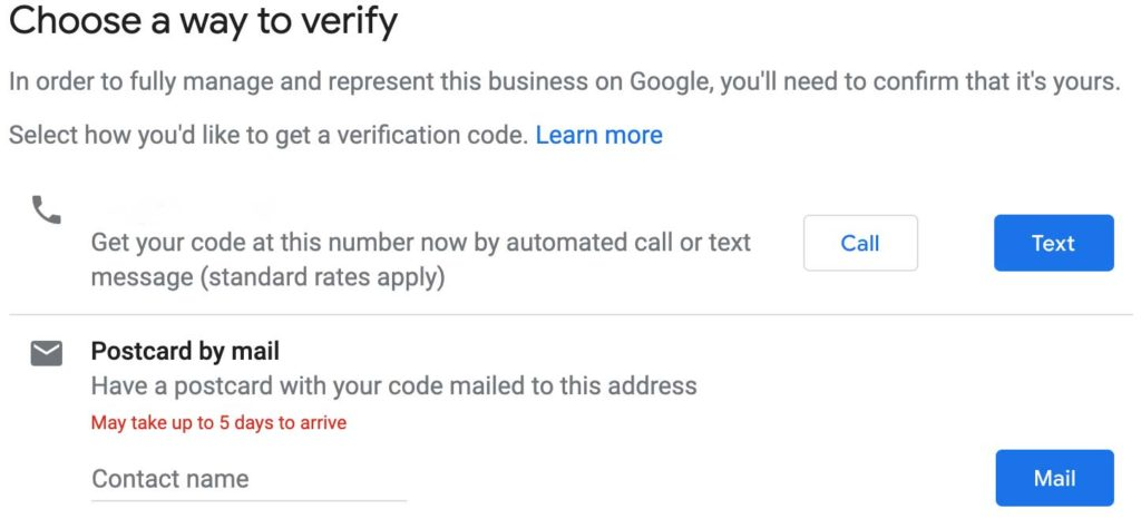 verification page for google my business