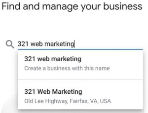 entering in business name for google my business account