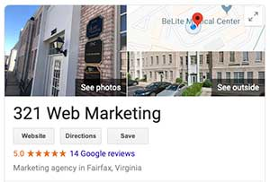 Google My Business Profile For 321 Web Marketing