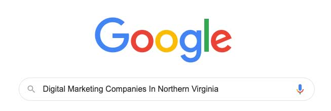 Google search for digital marketing companies in Northern Virginia