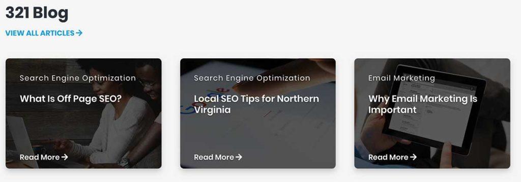desktop view for 321 webmarketing