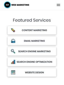 mobile view of responsive web design