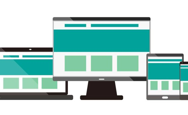 responsive web design shown across different sized monitors